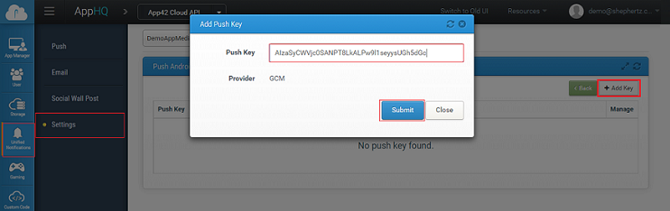 Configuring Android push keys